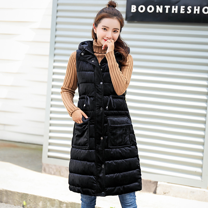 2018 New Style Down Feather Cotton Vest Women's Autumn And Winter Mid-length Hooded Cotton-padded Clothes Winter Waistcoat