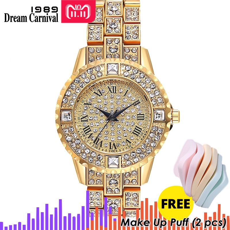 Dreamcarnival 1989 Brand New Quartz Watch For Ladies Women Roman Index Full Crystals 3 Black Hands Christmas Party Gift A8365