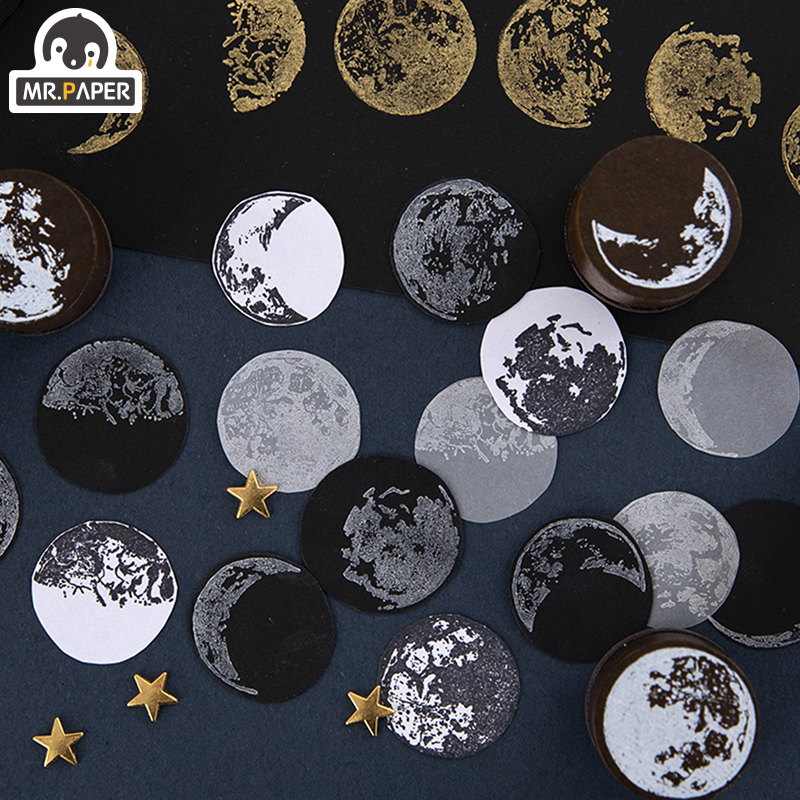 Mr.Paper 7 Designs Moon Phase Series Gold Space Hop-pocket List Log-Rubber Stamps for Scrapbooking Deco DIY Craft Wooden Stamps 3