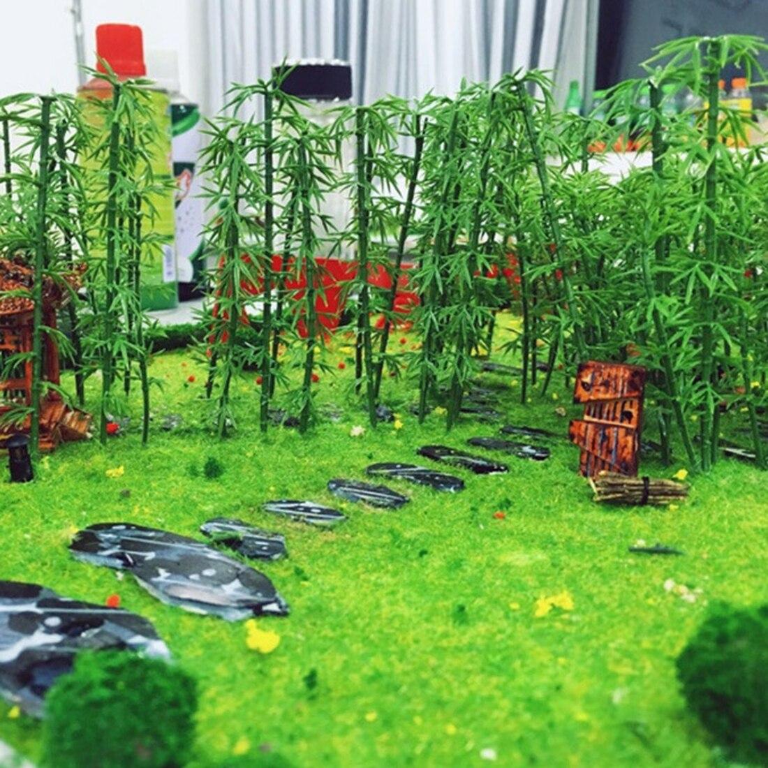 50 pces 12 cm/100 pces 15 cm/100 pces 13cm modelo miniatura plástico árvore paisagem bambu árvore areia tabela modelo decoração