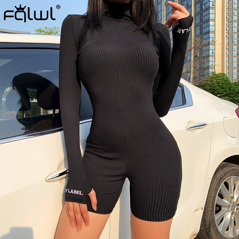 FQLWL Streetwear Knitted Sexy Summer Romper Bodycon Black White Jumpsuit Women Playsuit Long Sleeve Ladies Short Jumpsuit Female