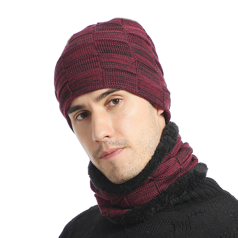 Mens Warm Thick Beanie Cap Scarf For Winter Knit Ski Beanies 2019 Winter Hat Scarf Set For Men Knitted Hats Scarf Beanies Hat