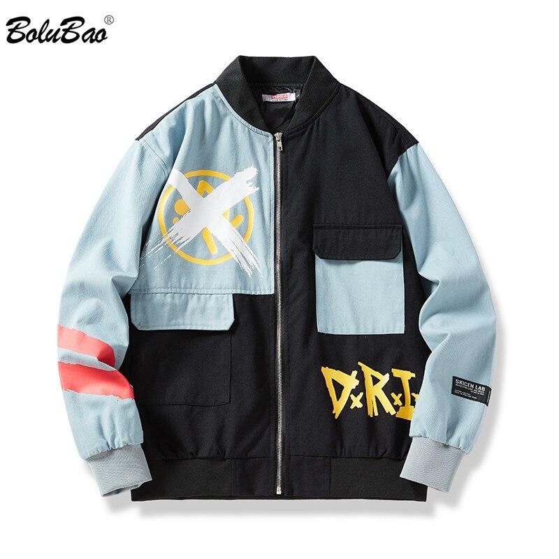 BOLUBAO Trend Brand Men Print Jackets New Men's Hip Hop Fashion Patchwork Jacket High Street Jacket Coat Male EU Size