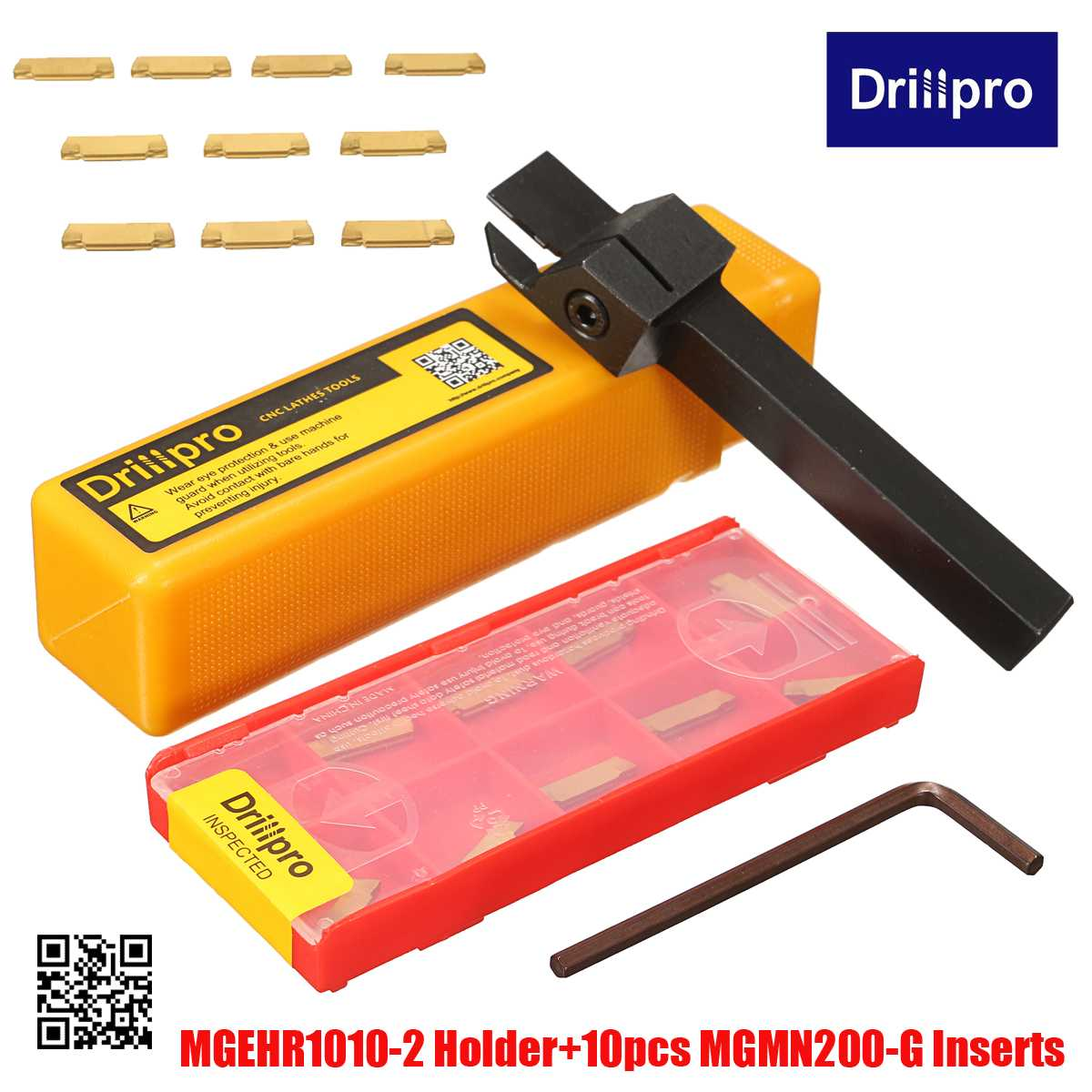 MGEHR1010-2 1pcs Grooving Tool Holder And 10pcs Blade MGMN200-G Grooving Inserts CNC Lathe Cutter For Turning Tool