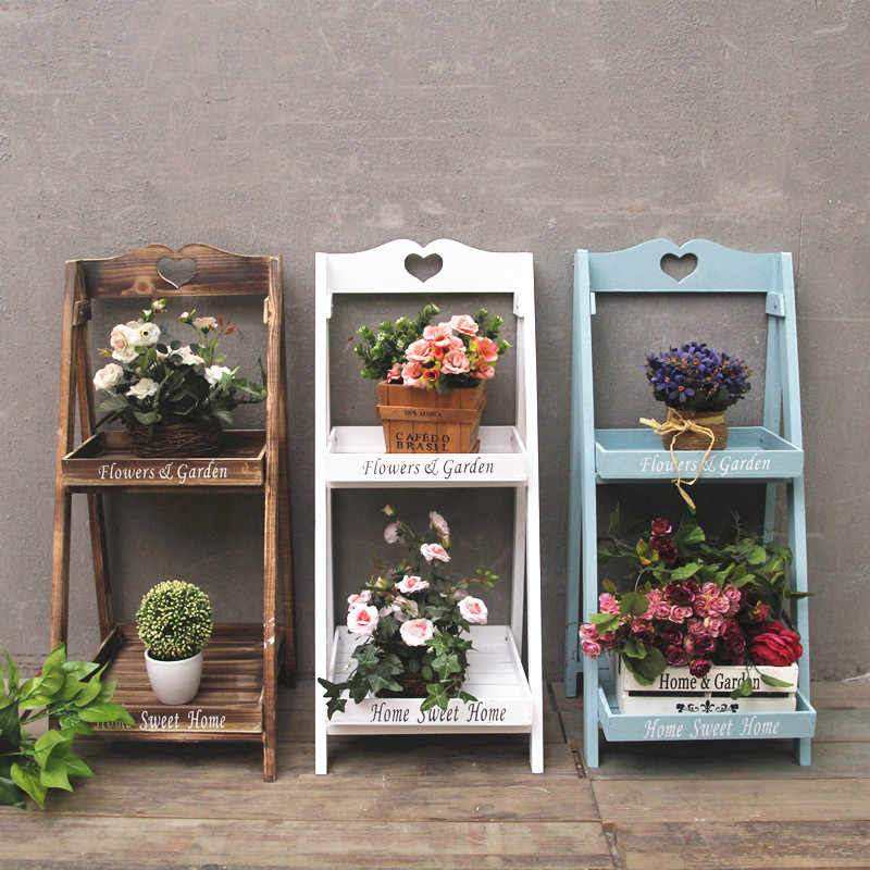 Nordic Wooden Two Tier Flower Stand Wood Plant Stand Indoor Plants