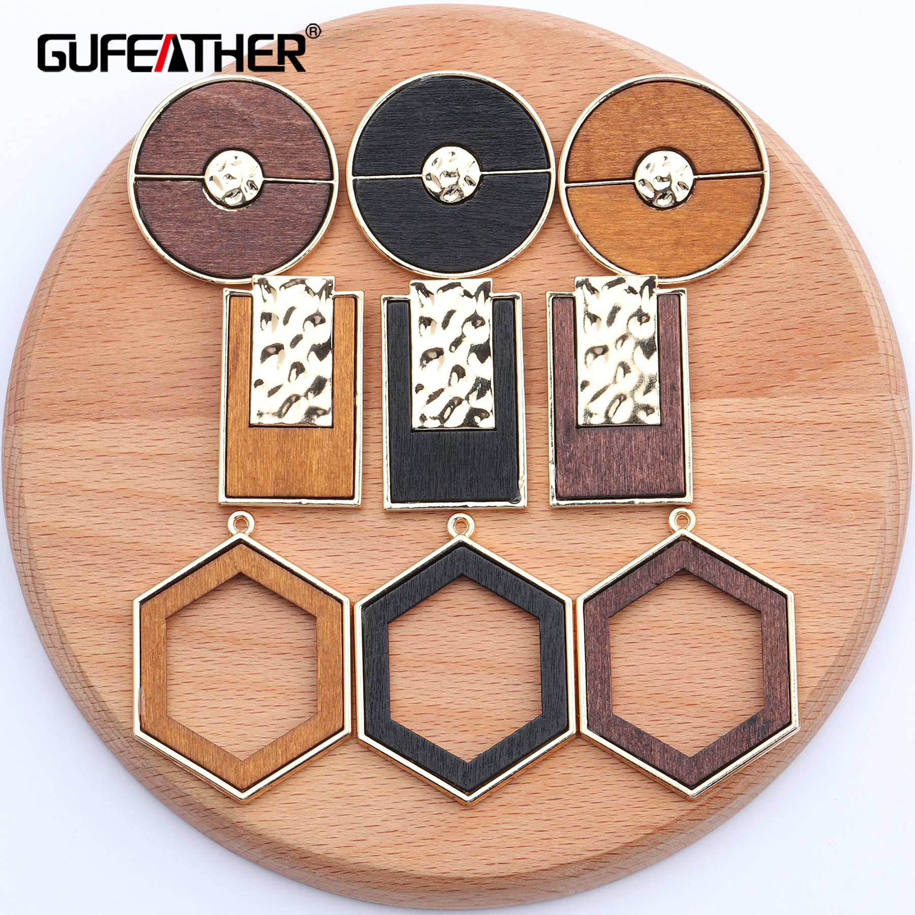 GUFEATHER M449,jewelry Accessories,hand Made,wood Pendant,copper Metal,round Square Shape,jewelry Making,diy Earring,10pcs/lot