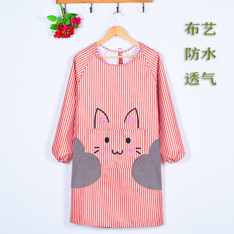 Fashion Thick Waterproof Oil Resistant Korean style Long Sleeve Apron Overclothes Adult Female Men's Cartoon Wipable Hand Korean|Oversleeves| |  - title=