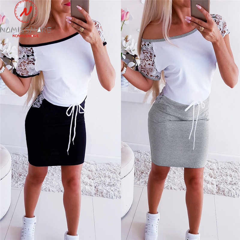 Moda kadınlar Mini elbise renk eşleştirme tasarım cepler dekor o-boyun kısa kollu kalem elbise zarif bayan ince bandaj elbise