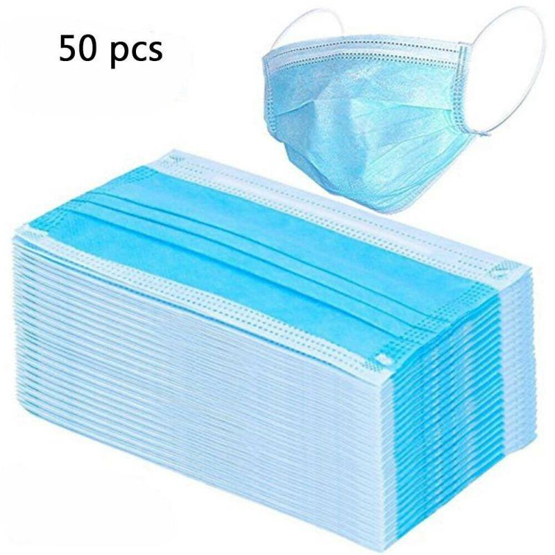 Disposable Earloop Face Mask Flu Virus 50/100 Pcs 3 Layers Mask