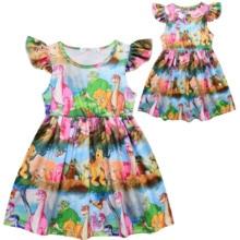Girls Dinosaur Dress Cartoon Print Flutter Sleeve The Incredibles Dress цена 2017