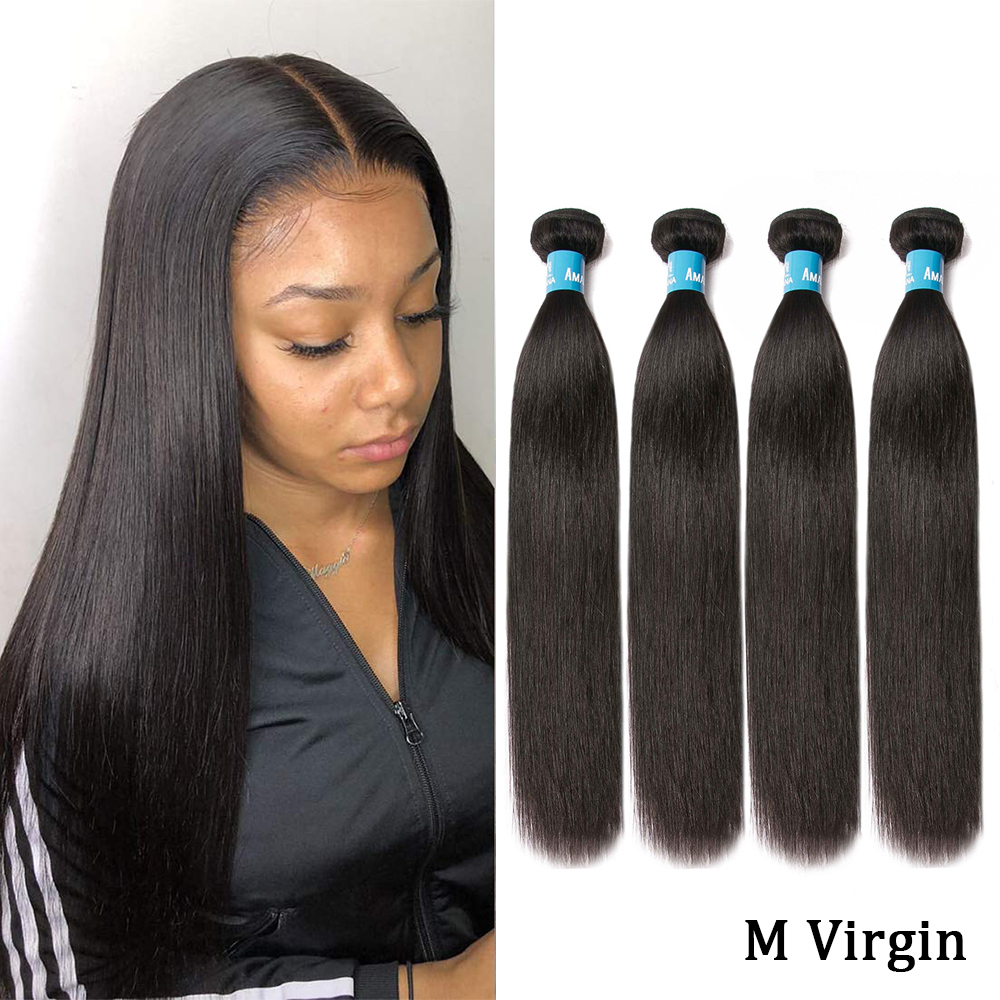 Amanda Double Drawn Human Hair Peruvian Hair Weave Bundles 8-22 Inches 100% Straight M Ratio Virgin Human Hair Weaving 4 Bundles