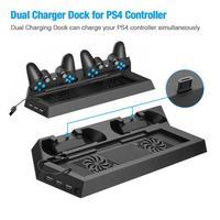 Cargador doble para mandos de PS4, soporte de refrigeración Vertical, estación de carga, ventilador LED para SONY Playstation 4, 1 unidad