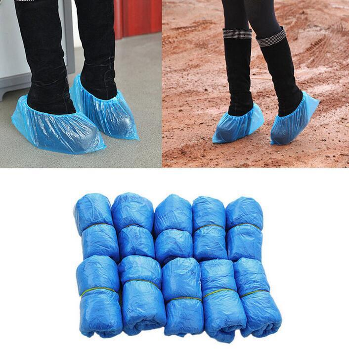 100-2000PCS Hot Sale Medical Waterproof Anti Slip Boot Covers Plastic Disposable Shoe Covers Overshoes Safety Rain Boots
