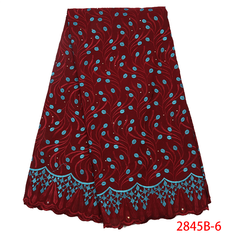 2019 African Dry Cotton Lace Fabrics,New Design Hot Sale Nigerian Lace Fabric,Swiss Voile Lace In Switzerland KS2845B-6