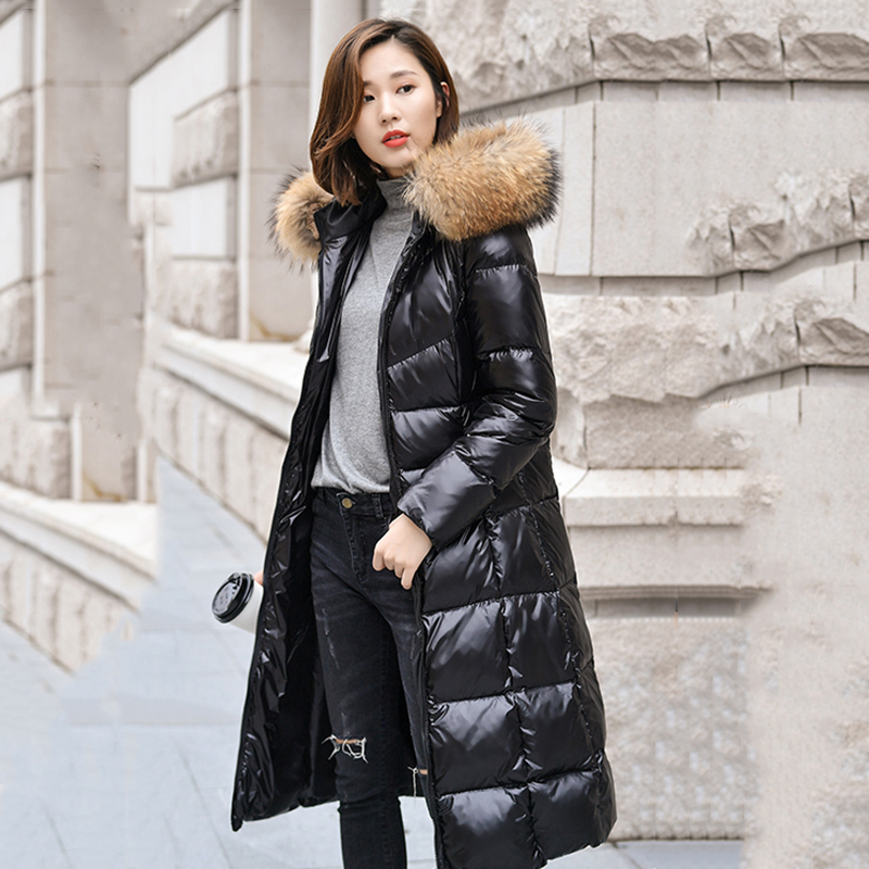 2019 Winter   Down   Parka Women   Coat   Warm Hooded Raccoon Fur Collar Outwear Female Fashion Long Overcoat 90%White Duck   Down   Jackets