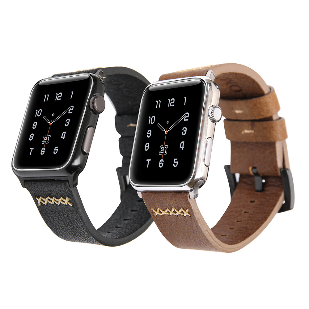 Suitable For Apple Watch APPLE Watch Of Watch Strap Folome Western Cowboy First Layer Cow Leather Watch Strap
