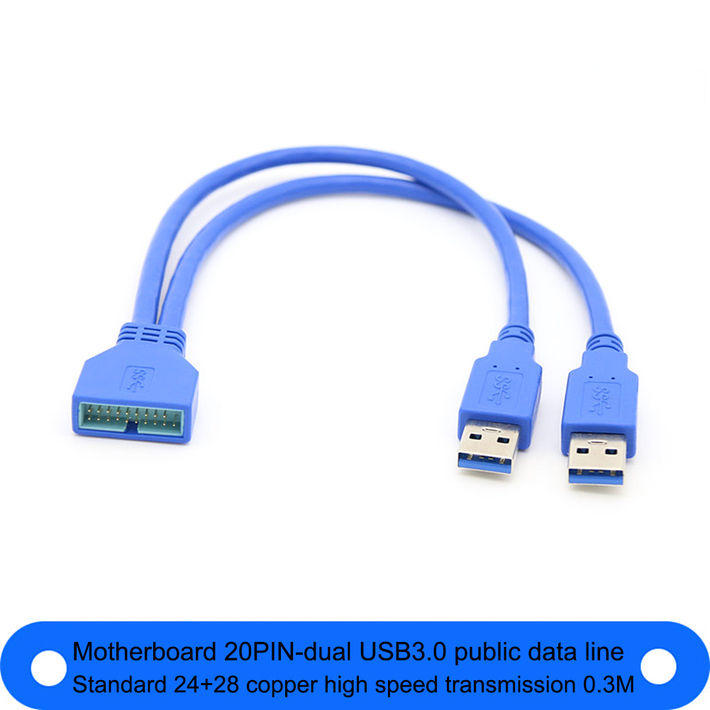 2 Ports USB 3.0 A Type Male To Motherboard 20 Pin Header Female Cable 20cm For ASUS Usb3.0 20pin To 2 Port External Conversion