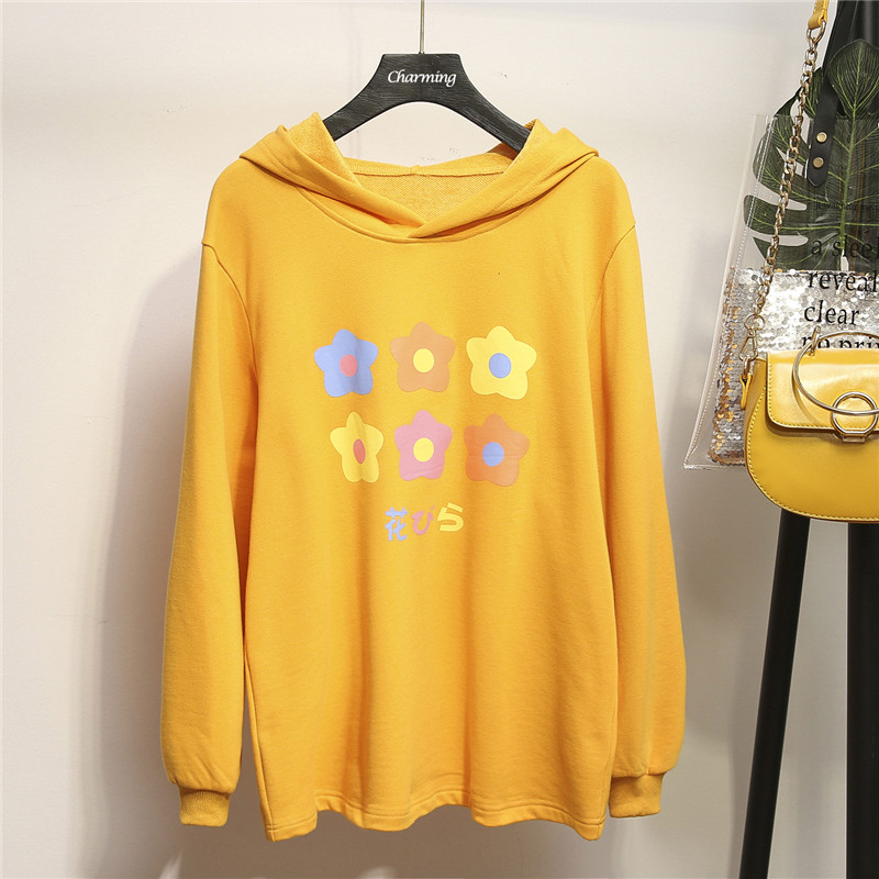 XL 4XL Plus Size Autumn Women Hoodies Sweatshirt Winter Casual Long Sleeve Print Sweatshirts Hooded Tops Large Loose Tracksuits in Hoodies amp Sweatshirts from Women 39 s Clothing