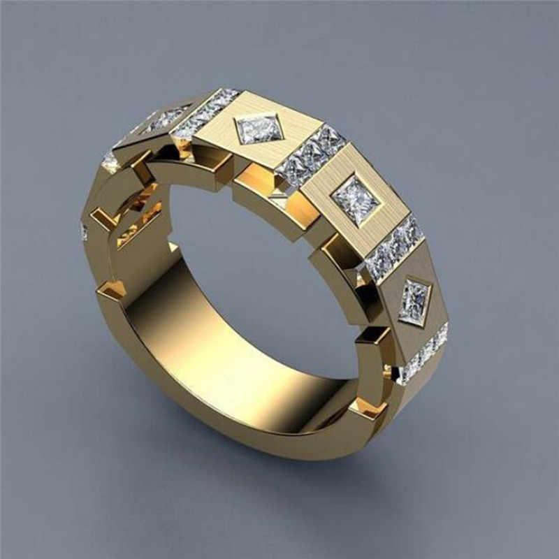2019 ファッションの高級 925 シルバー AAA ジルコン石リング男性女性ゴールドカラー結婚指輪男性のためのと女性