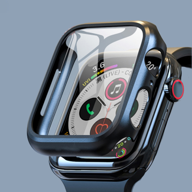 Compatible Apple Watch Series 6 SE Case 44mm 40mm Glass Film With Screen Protector Full Coverage For Iwatch 6 5 4 3 2 42mm 38mm 1
