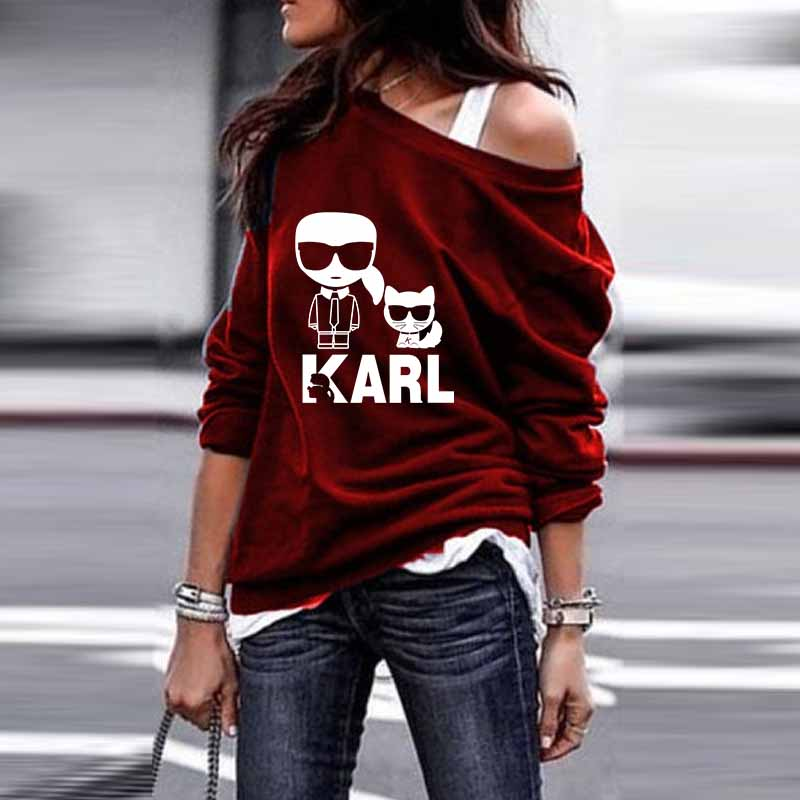 Sweatshirt Autumn Women Hoodies Karl Lagerfeld Vintage Loose Off-Shoulder Kawaii Printed
