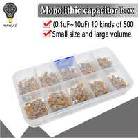 500 pz/lotto 10Values * 50pcs 0.1 uF-10 uF (104 ~ 106) 50V Condensatori Ceramici Multistrato Assortiti Kit Assortimento Set con la Scatola di Immagazzinaggio
