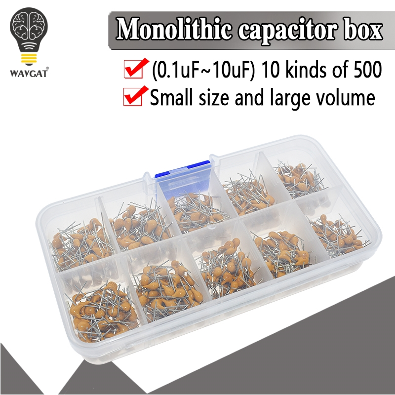 500pcs/lot 10Values*50pcs 0.1uF-10uF(104~106) 50V Multilayer Ceramic Capacitors Assorted Kit Assortment Set With Storage Box