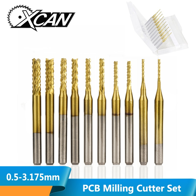 XCAN 10pcs TiN Coated 0.5-3.175mm PCB Milling Cutter CNC Milling Bit 3.175mm Shank Carbide End Mill For PCB Machine