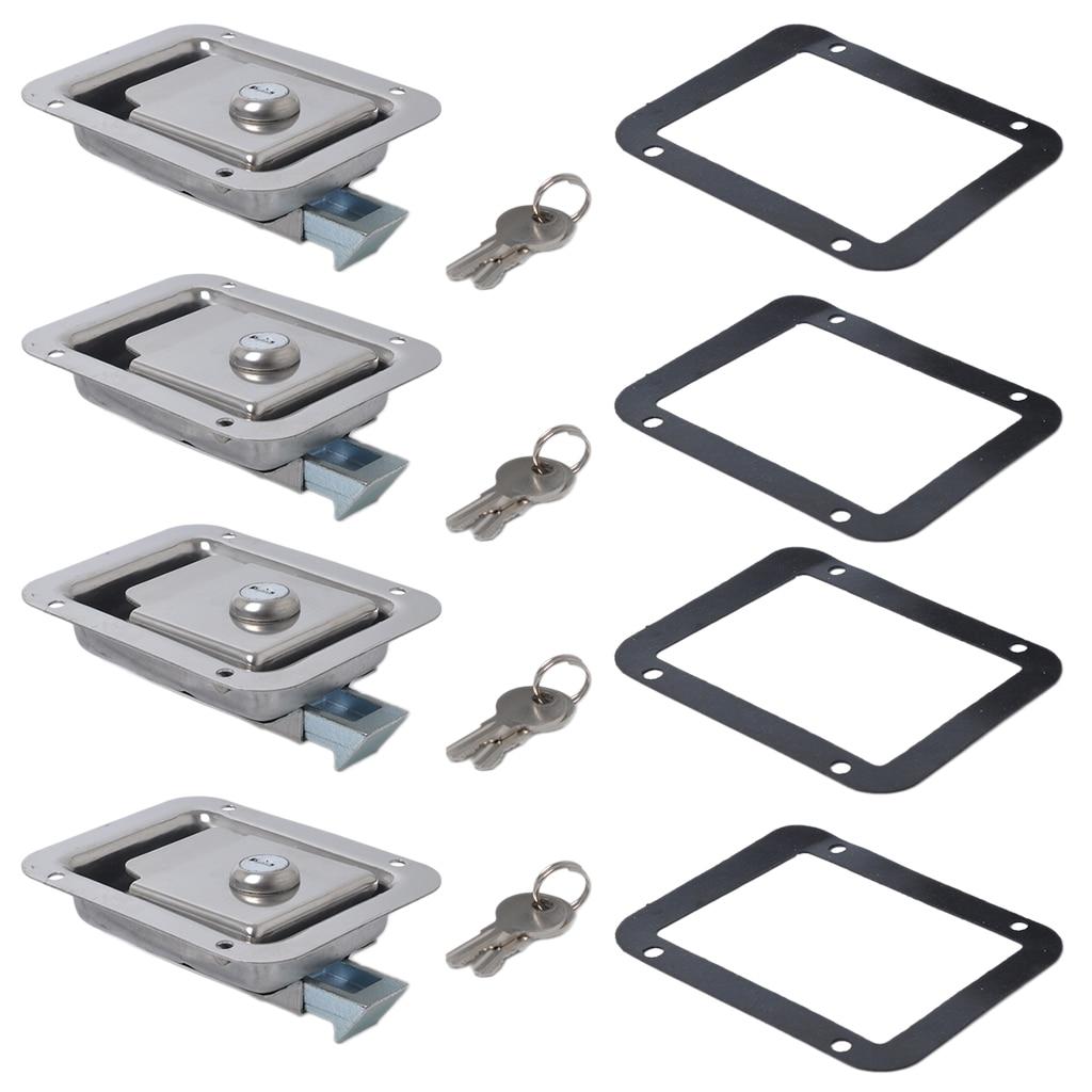 4 Set Boat Paddle Latch & Key & Gasket Flush Mount Paddle Handle Locking Latch For Yacht RV Trailer Caravan Motorhome Toolbox