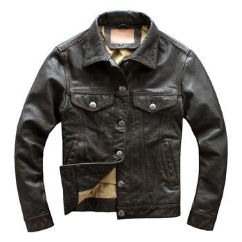 Chaqueta de cuero Casual marrón Vintage 2020 de talla grande con un solo pecho de talla grande 4XL abrigo Natural de piel de vaca auténtica de estilo ruso para otoño