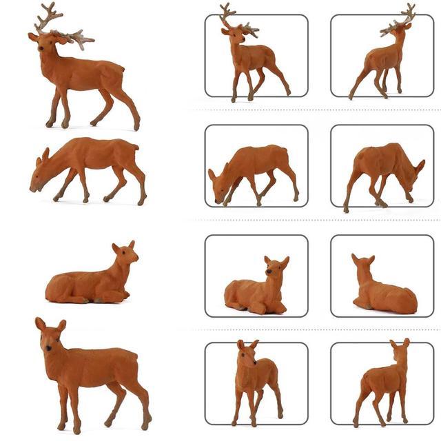 12pcs/24pcs Model Railway HO Scale 1:87 Painted Wild Animal Moose Elk PVC Model Deer AN8714 4