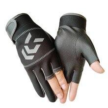 1 para rękawice wędkarskie kobiety mężczyźni uniwersalna ochrona wędkarska rękawice antypoślizgowe trzy palce Outdoor Half Finger rękawice wędkarskie