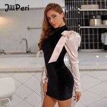 JillPeri Vestido corto femenino de terciopelo con manga larga para invierno, minivestido Sexy elástico con lazo para mujer, vestido de fiesta
