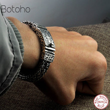 Bracelet en argent Sterling 925 véritable, pour hommes et femmes, large, chaîne de Rock Punk, rétro, 11mm