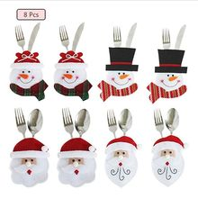 8pcs Cutlery Holder Towel Knives Fork Spoon Shaped Santa Claus Costume Cute for Kitchen Decoration Table Christmas Eve (8PCS)