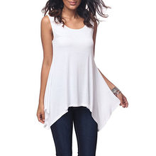 2021 Summer Street Style New Women's T-Shirt Solid Color Round Neck Sleeveless Loose-Fit Fashion T-Shirt
