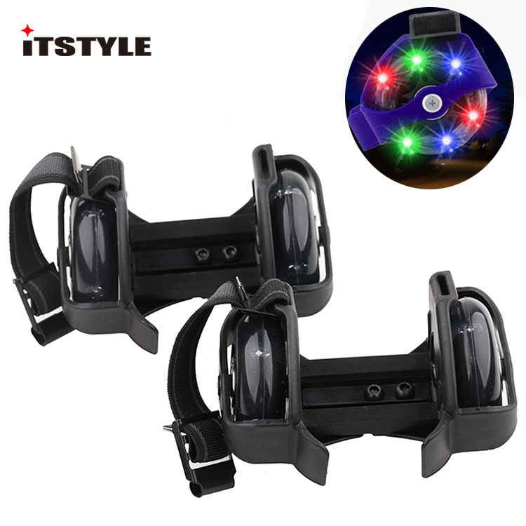 ITSTYLE Roller-Skating-Shoes Pulley Heel-Roller Flash-Wheels Whirlwind Adjustable Kids