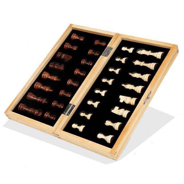 Jeu d'échecs magnétique pliable en bois massif pour débutants 29cm x 29cm 3