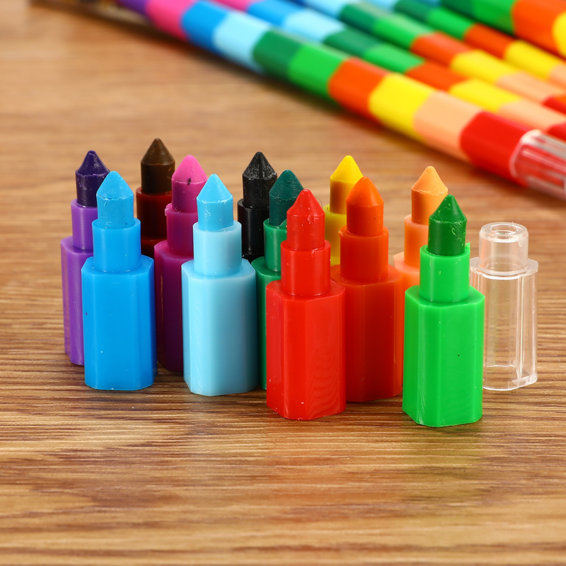 1Pc/3Pcs/6Pcs/lot 12Colors Cute Kawaii Graffiti Crayon Creative Building Blocks Crayon Student Kids Painting Stationery Supplies
