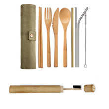 8pcs /Set Bamboo Cutlery Set for Picnic Portable Tableware Wooden Metal Straw Flatware Travel Sets Wood Dinnerware