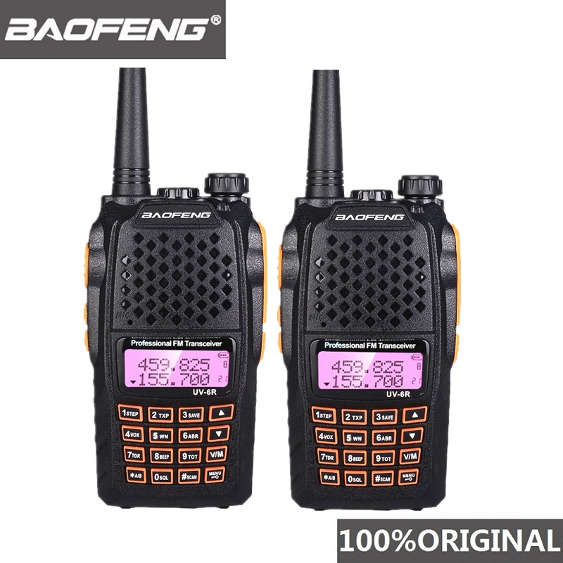 2pcs Baofeng UV-6R Two Way Radio Scanner 7w VHF UHF Dual Band Portable Walkie Talkie Ham Radio Hf Transceiver Handy Radio Amador
