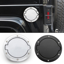 Black / Chrome Car Fuel Filler Door Cap Gas Tank Cover Replacement for Jeep Wrangler JK Rubicon Sahara Unlimited 07-17 Accessory игрушка bruder внедорожник jeep wrangler unlimited rubicon полиция с фигуркой 02 526