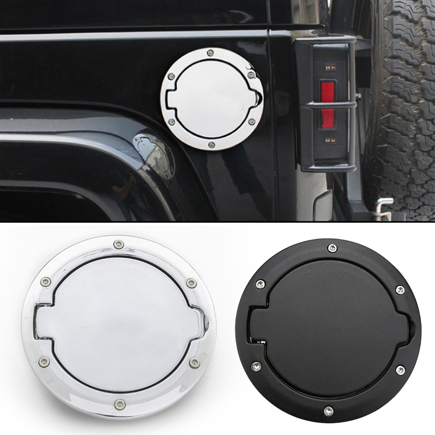 Steel Gas Fuel Tank Cap Cover Accessories for 07-17 Jeep Wrangler JK With Lock