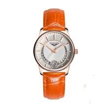 GUANQIN GQ15009 Women's Fashion Casual Quartz Watch Gold Case Leather Strap Ladi