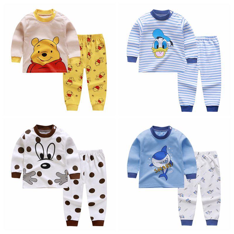 2020 sonbahar çocuk pamuk yenidoğan bebek erkek kız pamuk iç çamaşırı Set uzun kollu bebek giyim seti rahat ev hizmeti