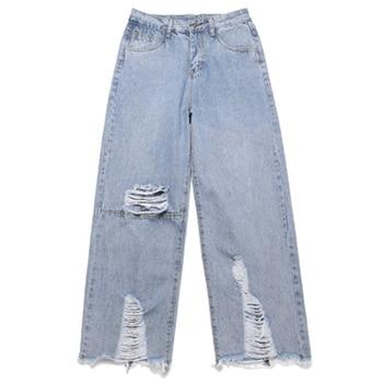 Oversize Men &Women Jeans Denim Loose Blue Straight Hole Moustache Effect Washed biker Vintage High Street Pant Outdoor Trousers