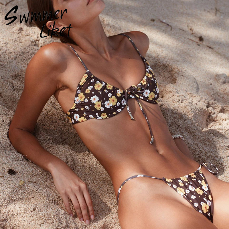 Sexy String Bikinis 2019 Mujer Floral Print Swimwear Women High Cut Two Piece Swimsuit Female Push Up Bathing Suit Biquini New