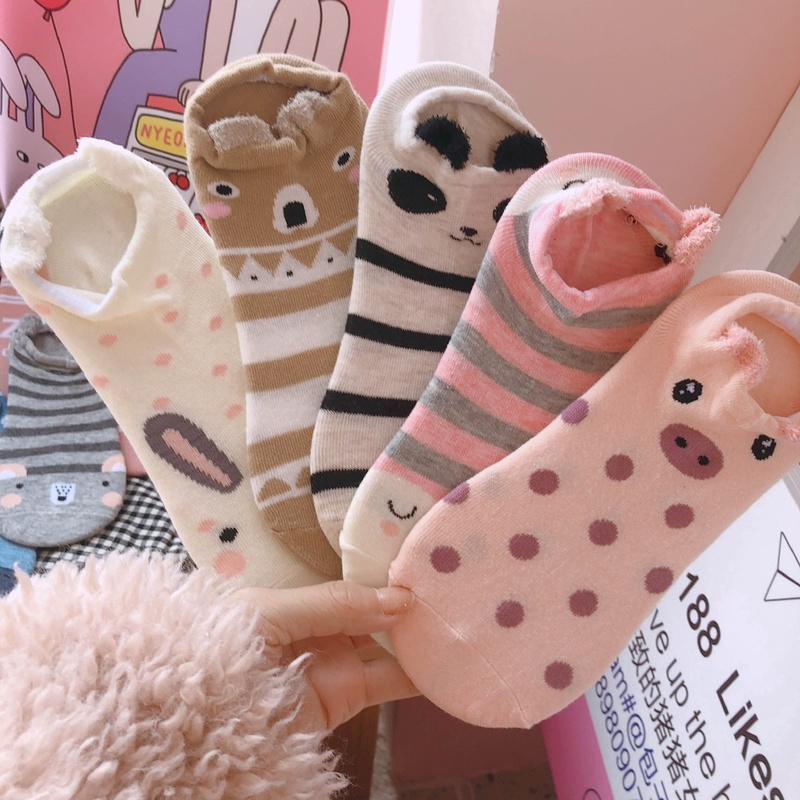 5 Pairs Funny Women Socks 3D Girls Cute Animal Cartoon Socks Female Kawaii Cat Dog Summer Short Ankle Socks Slippers Boat Socks
