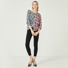 Свободные асимметричная проверил кнопка сплетенный шить блузка женская мода темперамент повседневная топ блуза уличная