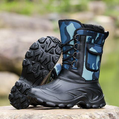 Waterproof Snow Boots Fishing Shoes Men Boots  Winter Warm Fur  Outdoor Camo Hunting Boots Camouflage winter shoes Size 41-46 Islamabad